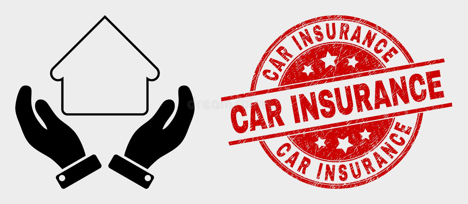 Vector House Care Hands Icon and Grunge Car Insurance Watermark. Vector house care hands icon and Car Insurance seal stamp. Red rounded grunge seal stamp with royalty free illustration