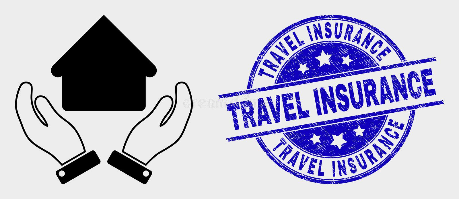 Vector House Care Hands Icon and Distress Travel Insurance Stamp Seal. Vector house care hands pictogram and Travel Insurance seal stamp. Red round textured seal vector illustration