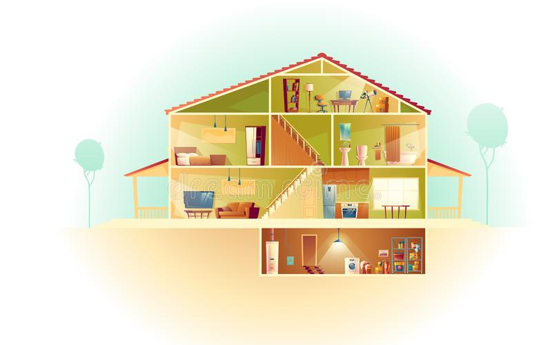 Vector cartoon house in cross section, background royalty free illustration
