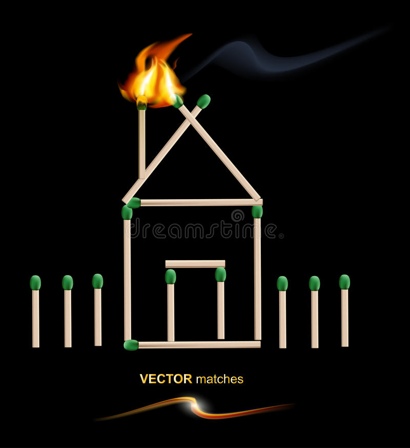 Vector house from matches stock illustration