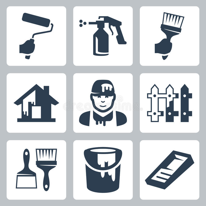 Vector house painter icons set royalty free illustration
