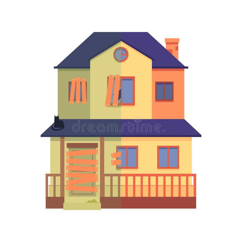 Vector house renovation before after repair work royalty free illustration