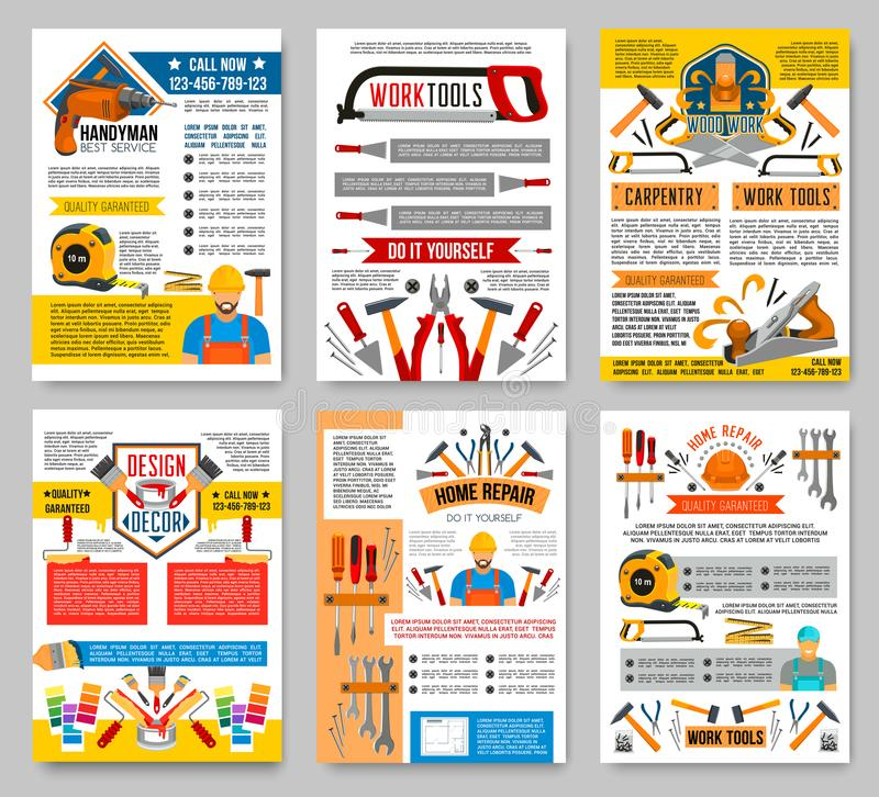 Vector house repair construction work tool posters stock vector download vector house repair construction work tool posters stock vector illustration of brush grinder solutioingenieria Choice Image