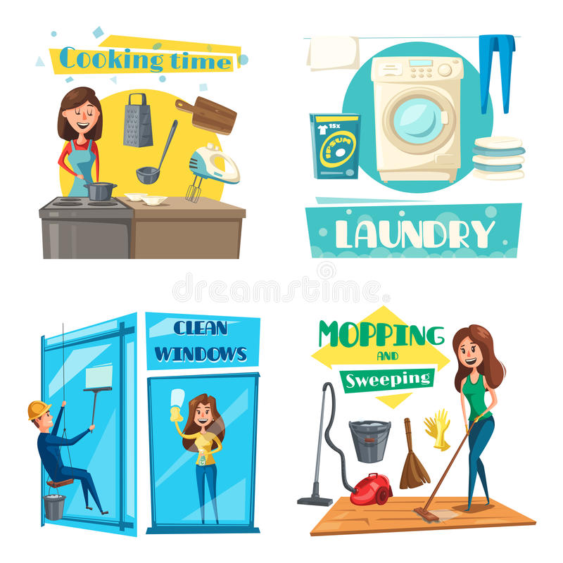 Vector house or room cleaning, cooking and laundry royalty free illustration