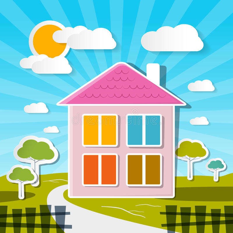 Vector House on Sunny Day. With Trees and Clouds vector illustration