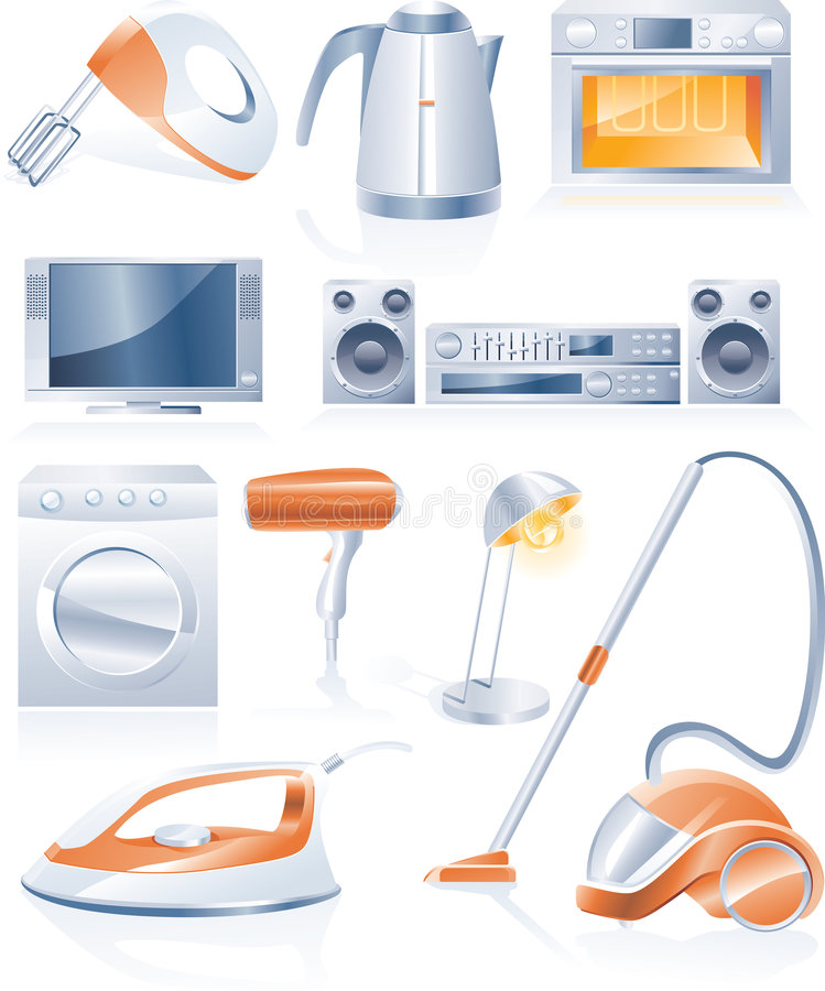 Vector household appliances icons vector illustration
