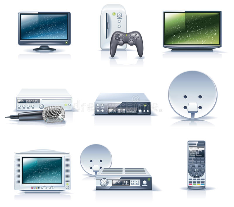 Vector household appliances icons. Part 6. Set of the detailed domestic appliances icons