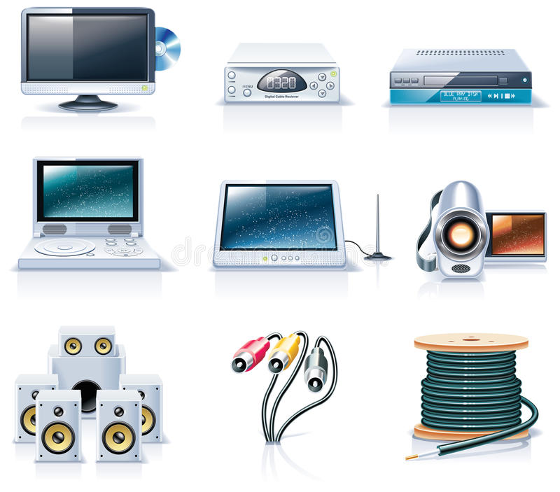 Vector household appliances icons. Part 7 stock illustration
