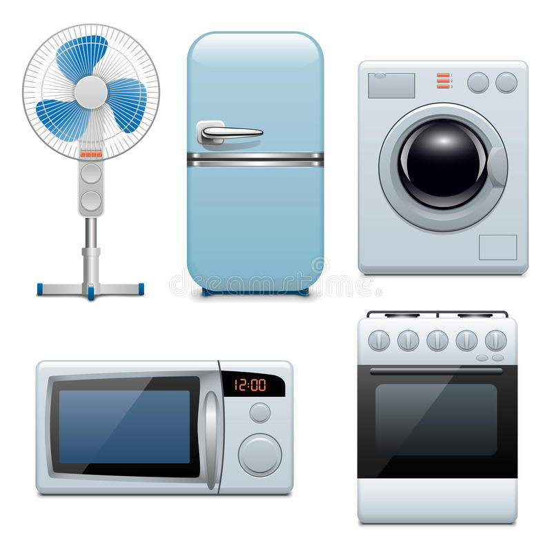 Vector household appliances icons royalty free illustration