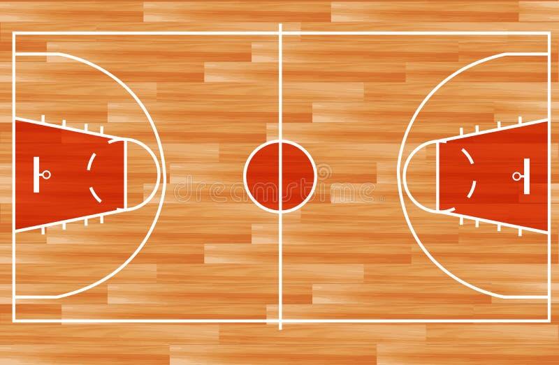 Vector Houten basketbalhof royalty-vrije illustratie