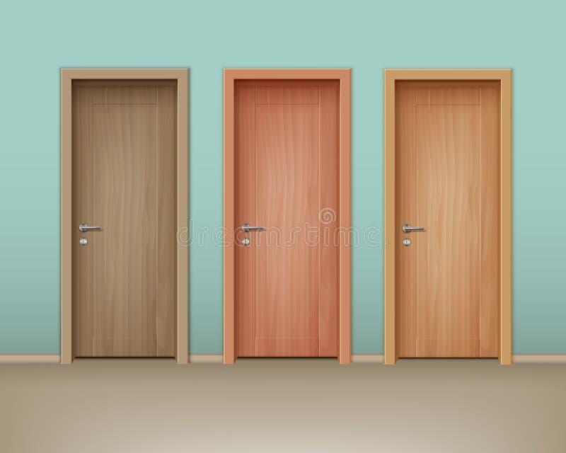 Vector houten deuren vector illustratie