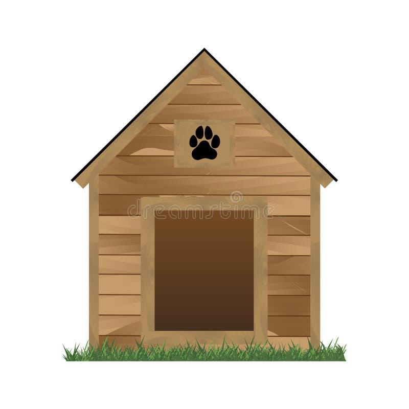 Vector houten die hondhuis op witte achtergrond wordt geïsoleerd stock illustratie