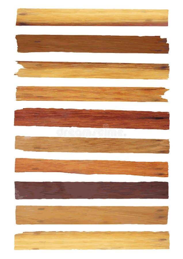 Vector houten die plank op wit wordt geïsoleerd stock illustratie