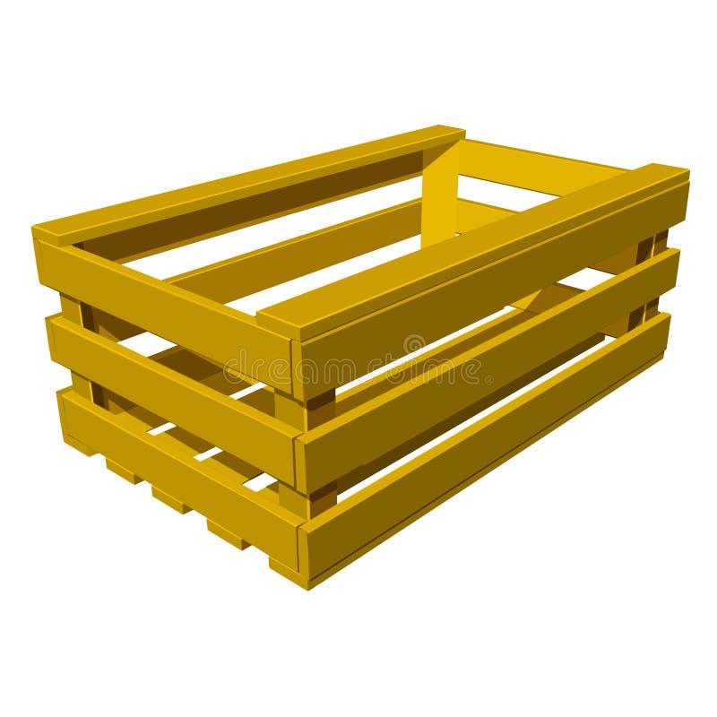 Vector houten doos voor vruchten en groenten vector illustratie