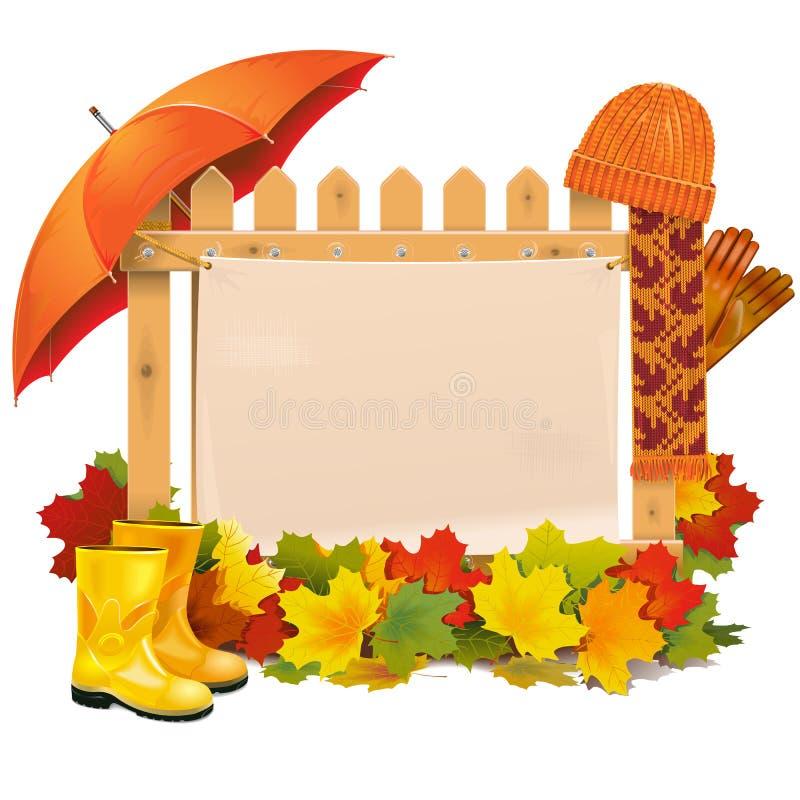 Vector Houten Omheining met Autumn Leaves royalty-vrije illustratie