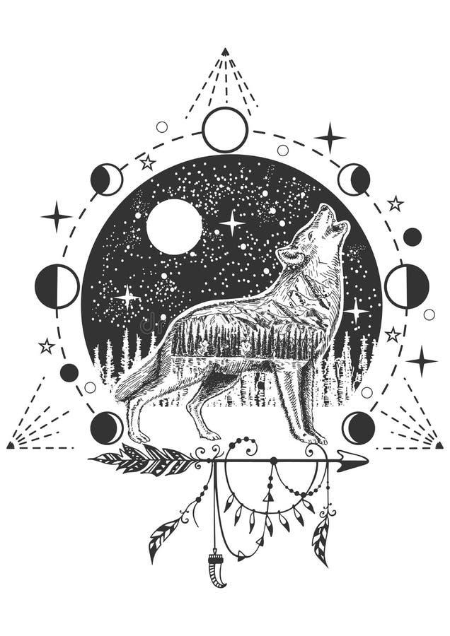 Vector huilend van de wolfstatoegering of t-shirt drukontwerp vector illustratie
