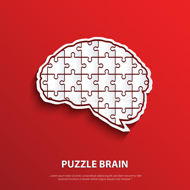 Vector human brain composed of a puzzle. royalty free illustration
