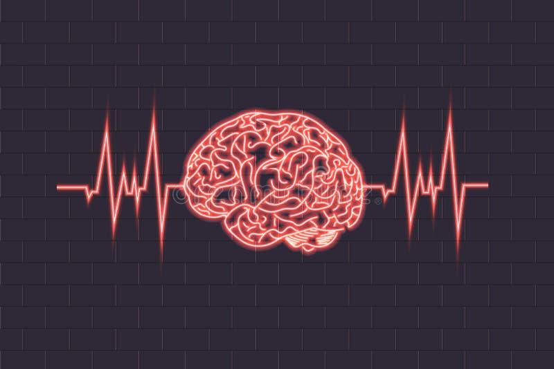Vector Human Brain and Pulse Wave, Neon Illustration, Glowing Neon Lines. vector illustration