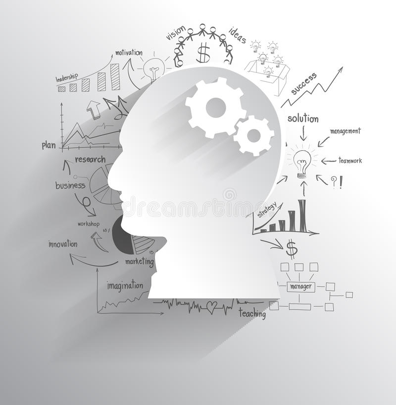 Download Vector Human Head With Gears As A Brain Idea Stock Vector - Image: 38092213