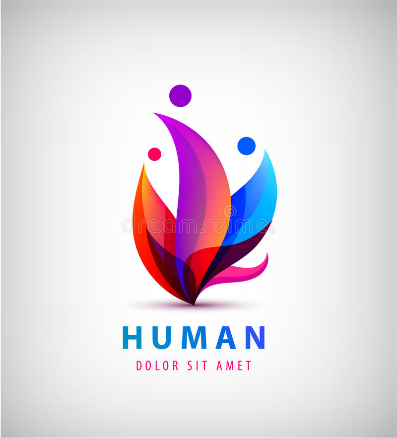 Vector human logo, group of people colorful icon, teamwork, business vector illustration