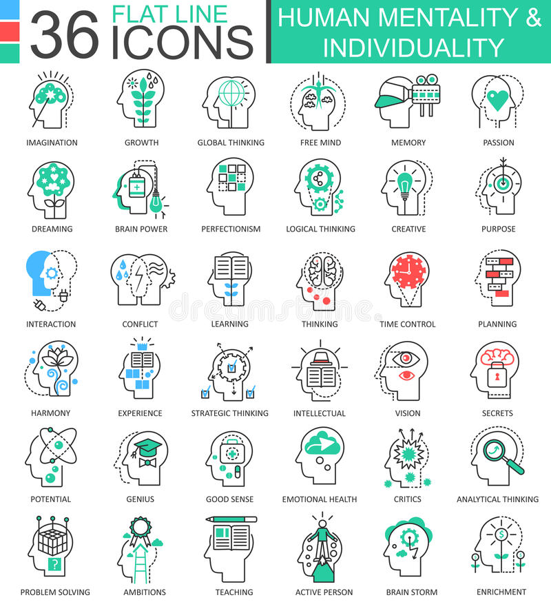 Vector Human mentality individuality flat line outline icons for apps and web design. royalty free illustration