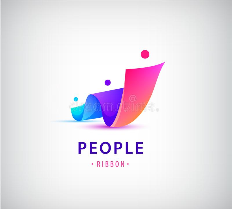 Vector human, people group logo. Family, business teamwork, friendship concept. 3d origami, multicolor men logo. Vector set of human, people group logos. Family vector illustration