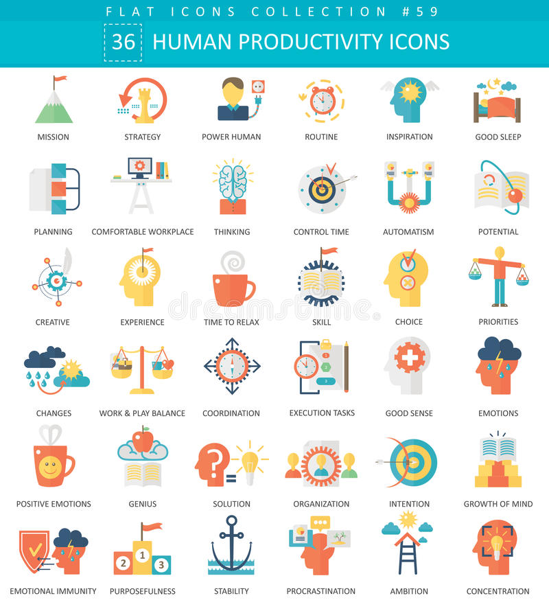 Vector Human productivity color flat icon set. Elegant style design Human productivity web icon. Vector Human productivity color flat icon set. Elegant style vector illustration