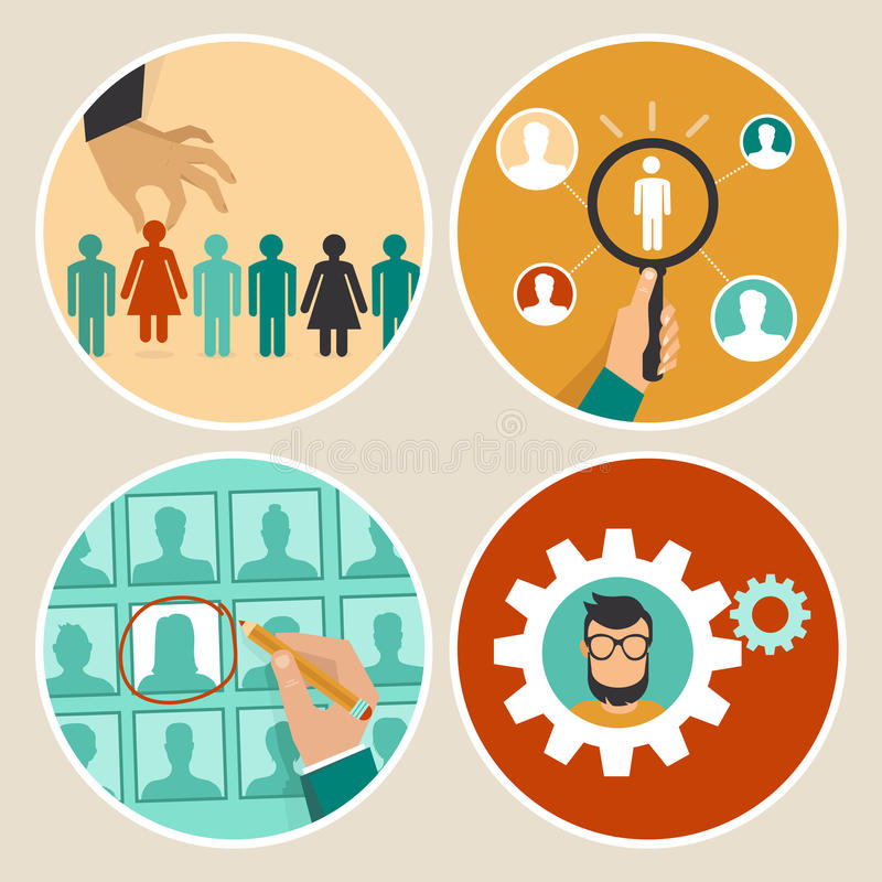 Vector human resources concepts and icons vector illustration