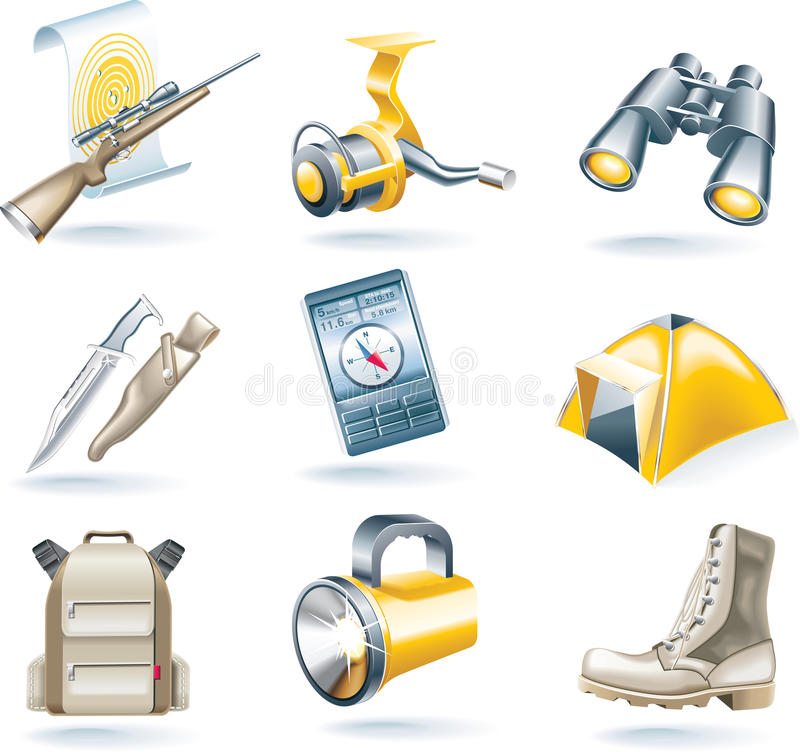 Free Vector Hunt And Fishing Icon Set Royalty Free Stock Image - 9856736