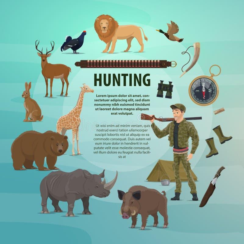 Vector hunting club open season safari poster vector illustration