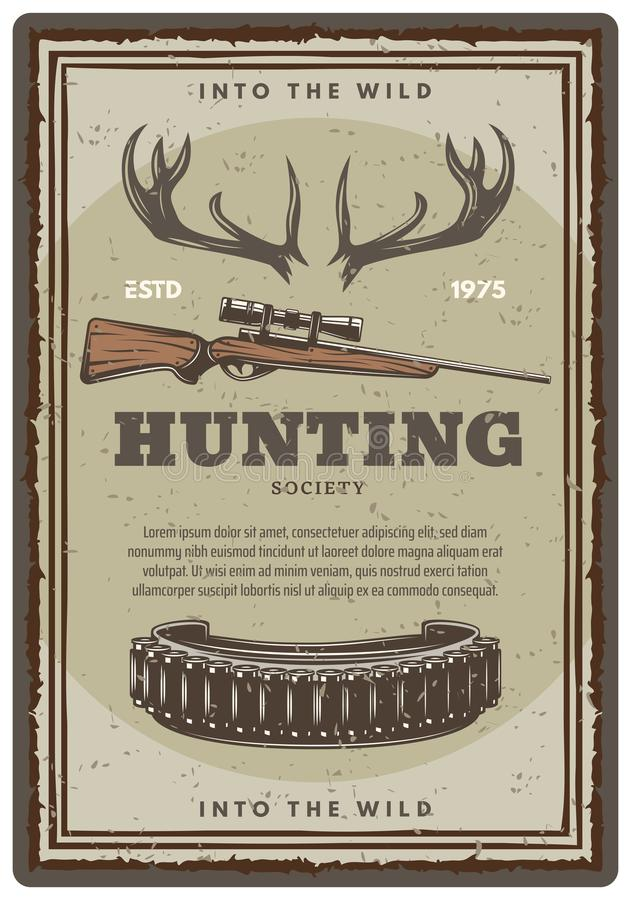 Free Vector Hunting Club Open Season Sketch Poster Royalty Free Stock Photos - 120447578
