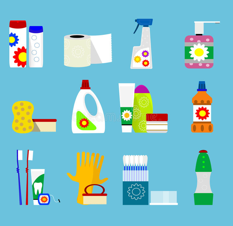 Vector hygiene and cleaning products icons. Hygiene and cleaning products flat icon set. Vector vector illustration