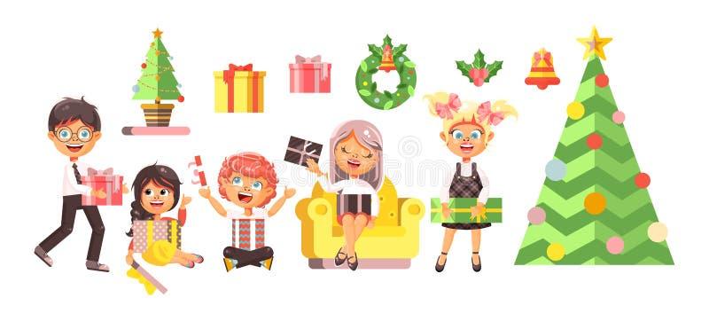 Vector i bambini dei personaggi dei cartoni animati, i ragazzi, le ragazze, l'albero di Natale, il buon anno ed allegro isolati i royalty illustrazione gratis