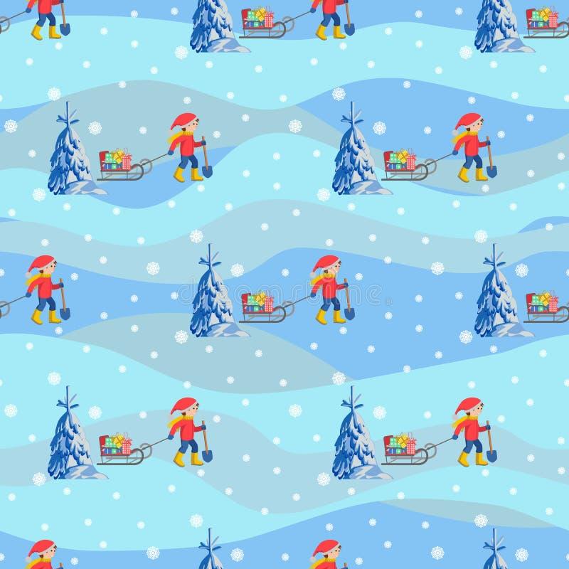 Vector i bambini felici del fondo senza cuciture dell'illustrazione con la camminata dei regali e della slitta all'aperto illustrazione di stock