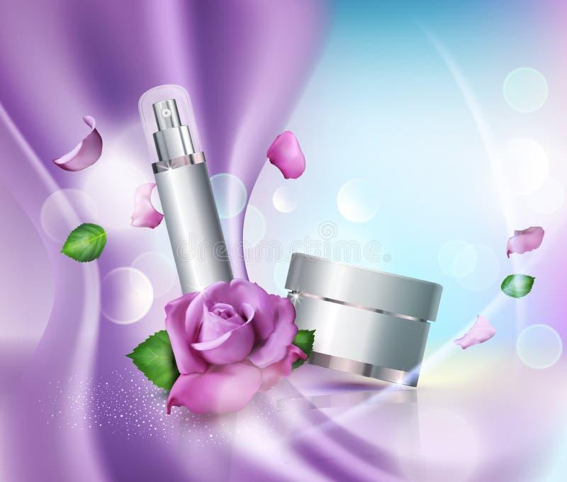 Vector i barattoli dei cosmetici sul fondo e sulle rose del bokeh Elemento FO illustrazione di stock