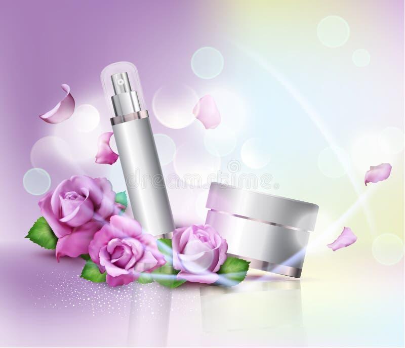 Vector i barattoli dei cosmetici sul fondo e sulle rose del bokeh Elemento FO illustrazione vettoriale