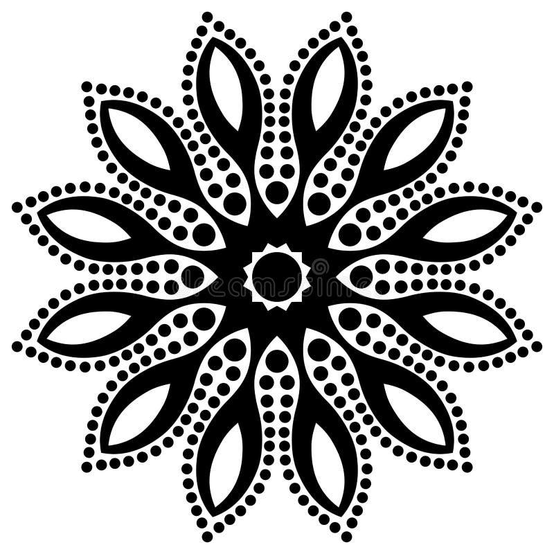 Vector i bei fiori in bianco e nero monocromatici d'annata e le foglie isolati illustrazione vettoriale