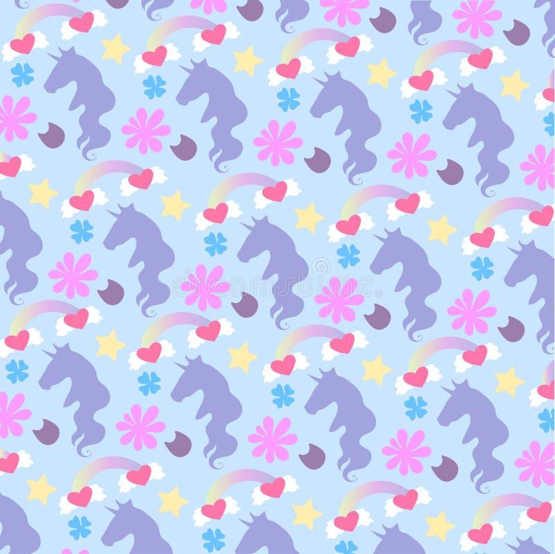 Vector i bei unicorni, arcobaleni e fiori svegli luminosi del fumetto dell'ornamento immagine stock