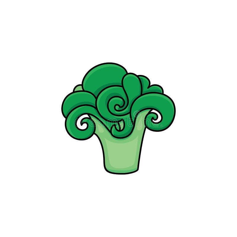 Vector i broccoli maturi freschi di schizzo di verde piano di stile royalty illustrazione gratis