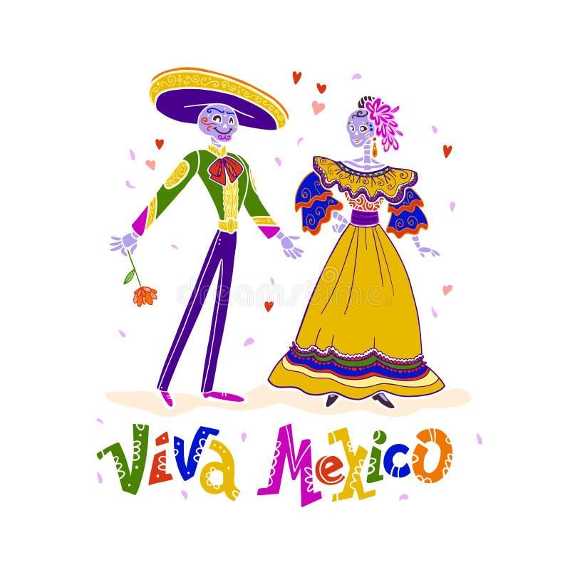 Vector i caratteri di scheletro messicani - uomo e signora - in costumi variopinti tradizionali isolati su fondo bianco royalty illustrazione gratis