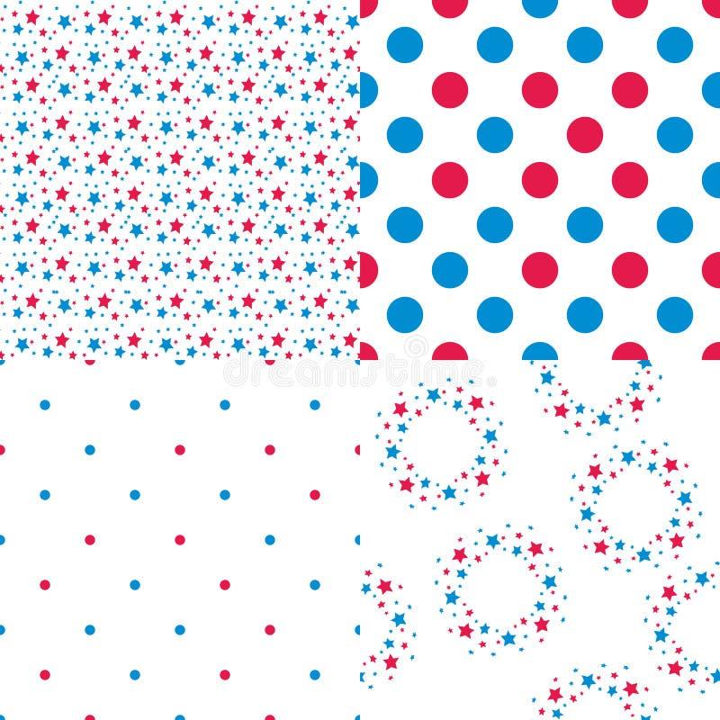 Vector i colori blu e rossi senza cuciture dei modelli, le stelle, piselli illustrazione vettoriale