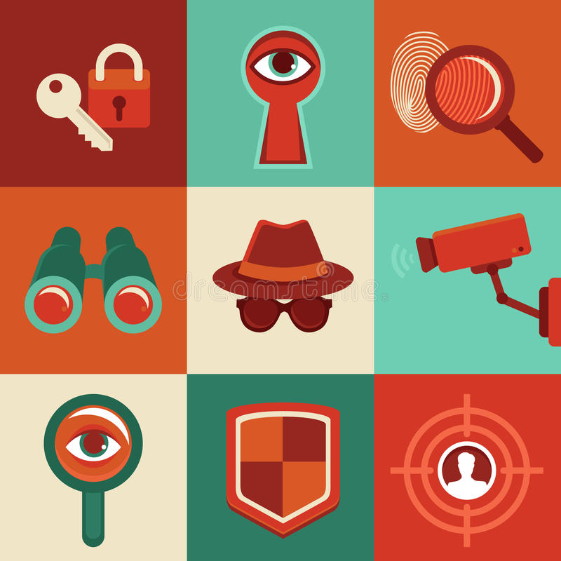Vector i concetti di sorveglianza - icone nello stile piano illustrazione di stock