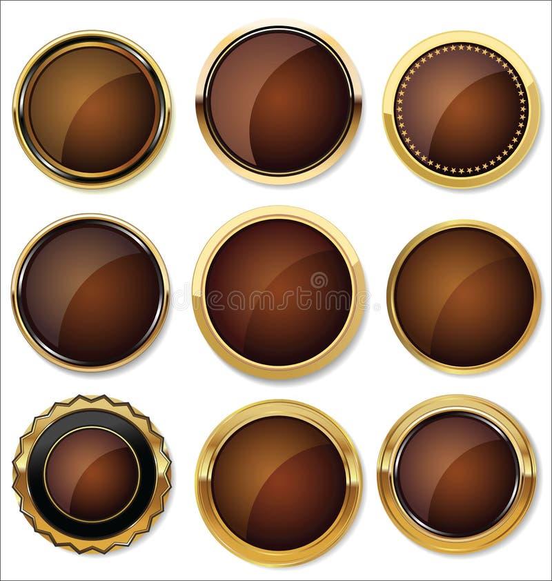 Vector i distintivi di oro e dell'insieme nero della guarnizione royalty illustrazione gratis