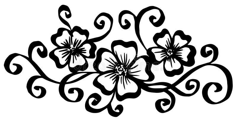 Vector i fiori d'annata dipinti a mano con i riccioli isolati su fondo bianco illustrazione vettoriale