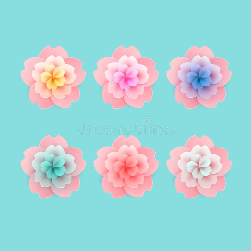 Vector i fiori rosa per le vostre progettazioni di Pasqua, grea del fiore di ciliegia illustrazione vettoriale