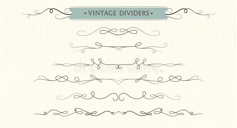 Vector i flourishes disegnati a mano, i divisori, EL adorabile grafico di progettazione illustrazione di stock