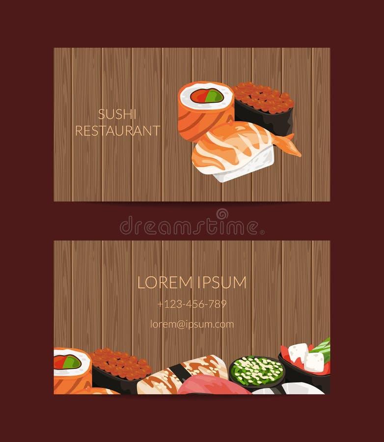 Vector i modelli del biglietto da visita nello stile del fumetto per il ristorante di sushi o lezioni di cottura con il fondo di  illustrazione vettoriale