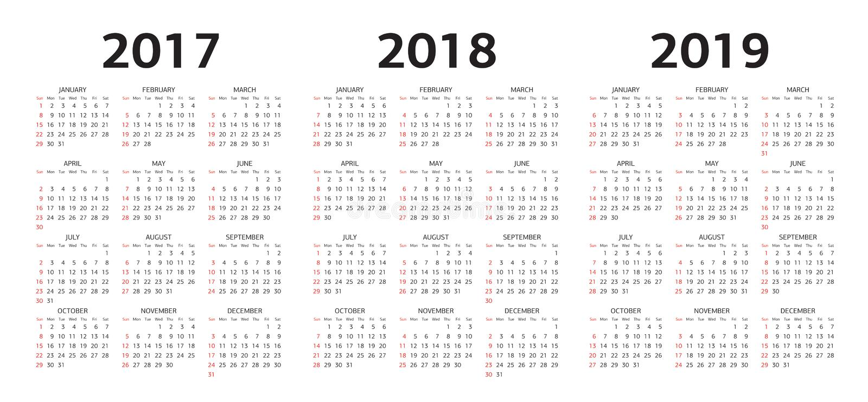 Vector i modelli del calendario 2017, 2018, 2019