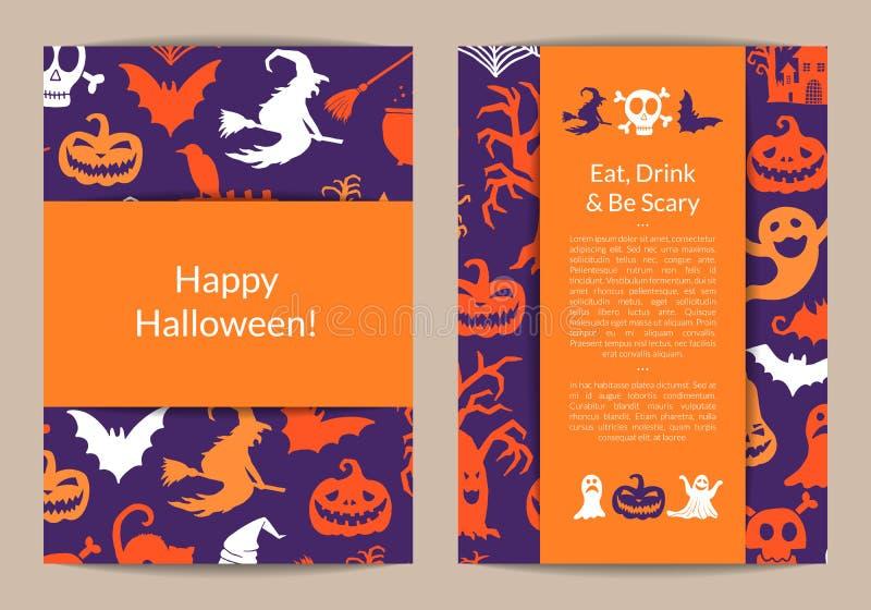 Vector i modelli della carta di Halloween con le streghe, le zucche, i fantasmi, siluette dei ragni royalty illustrazione gratis