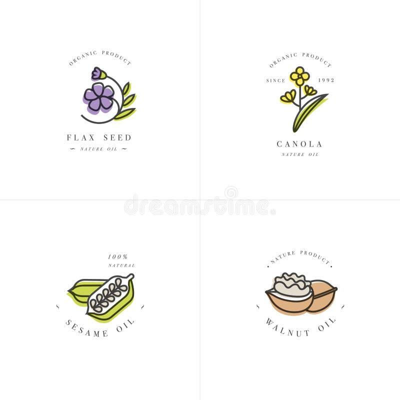 Vector i modelli di progettazione stabilita e simbolizzato - oli dei cosmetici e sani - il seme di lino, la noce, il sesamo ed il royalty illustrazione gratis
